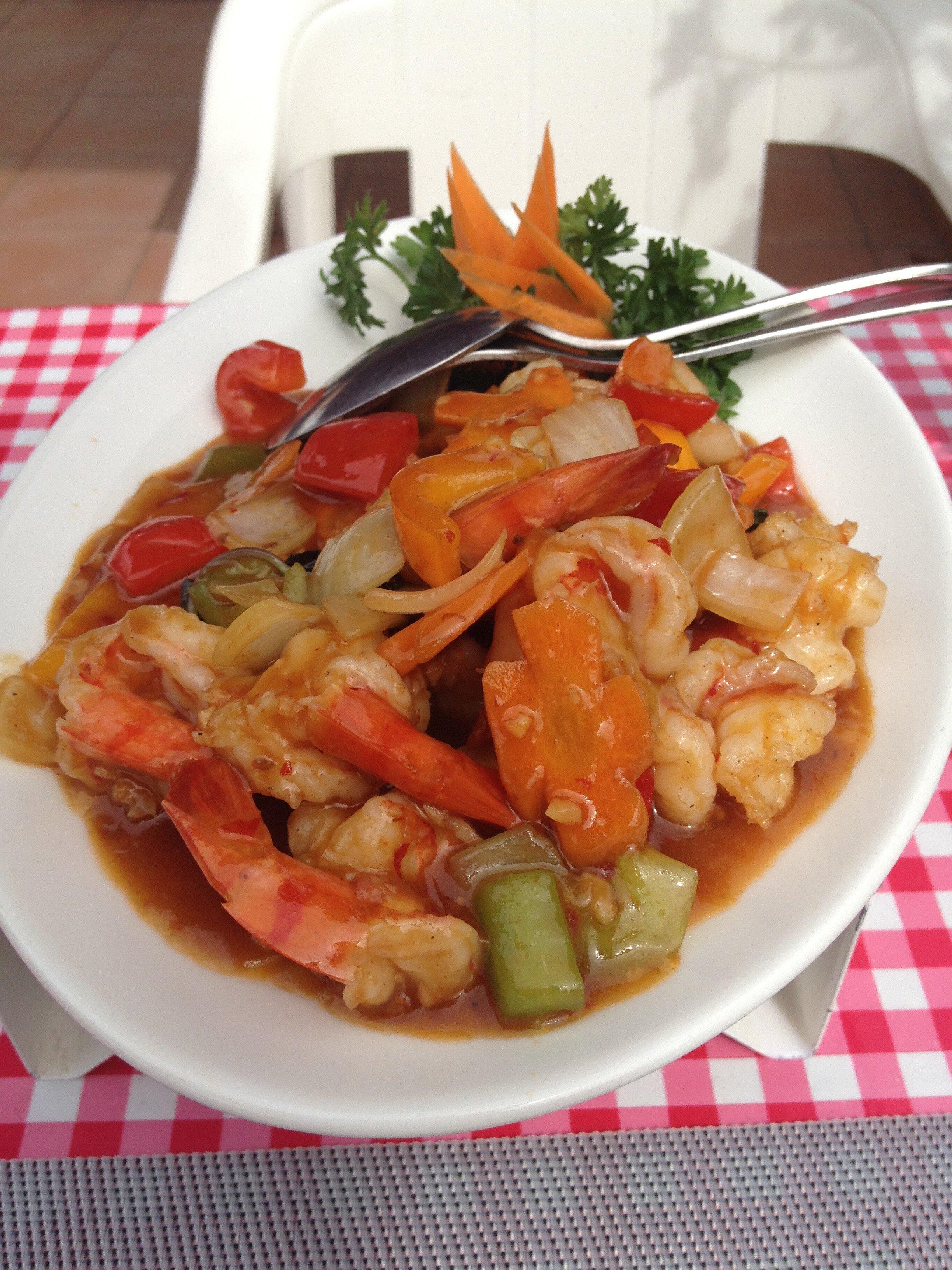 Les crevettes au basilc