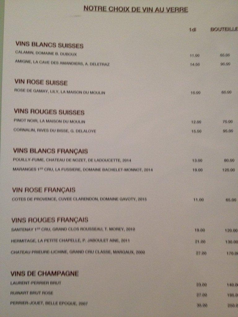 La carte des vins au verre