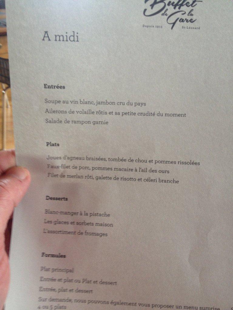 Les propositions du menu du jour